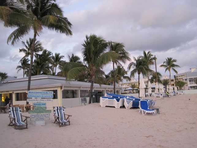 Hotels and beach at the end of town in Key West, Florida