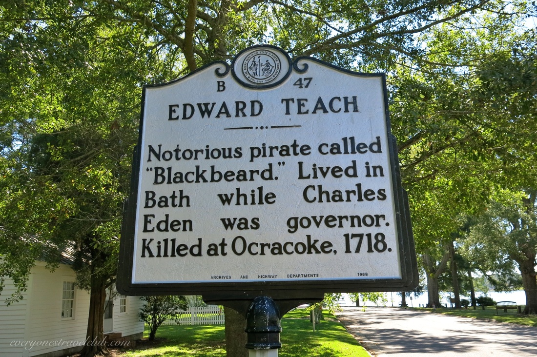 An Edward Teach Blackbeard the pirate sign in Bath, North Carolina