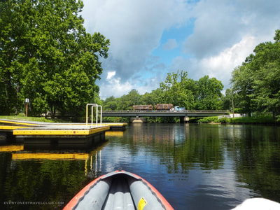 Approaching the highway 17 bridge paddling the Trent River.
