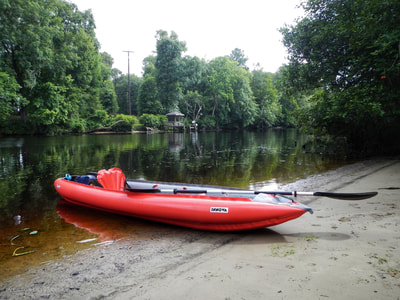 Our Innova Sunny inflatable kayak along the banks of the Trent River.