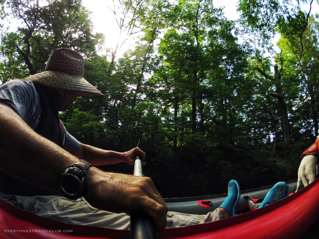 Paddling our inflatable Innova kayak in Eastern North Carolina.