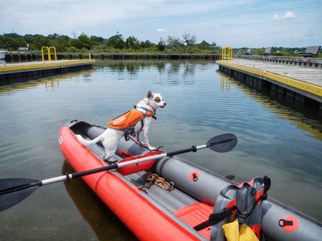 Suiting up the outward hound on our Innova Kayak as we launch from the Emerald Isle public boat ramp.