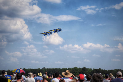 Blue Angels flying by the crowd at the Wings over Wayne 2017 air show