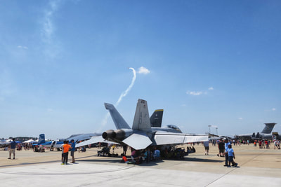 An f-18 on the tarmac at Johnson AFB air show