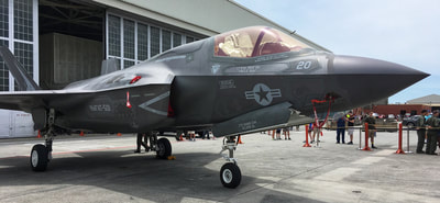 A F-35 on display at the 2018 Cherry Point air show