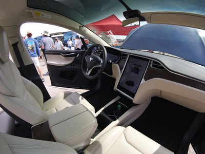 Inside a Tesla Model X at the Tesla Vets booth at the 2018 Cherry Point Air Show