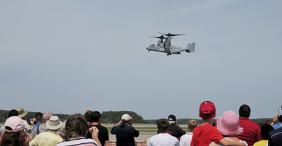 An osprey in flight at the 2018 Cherry Point air show in Havelock, North Carolina