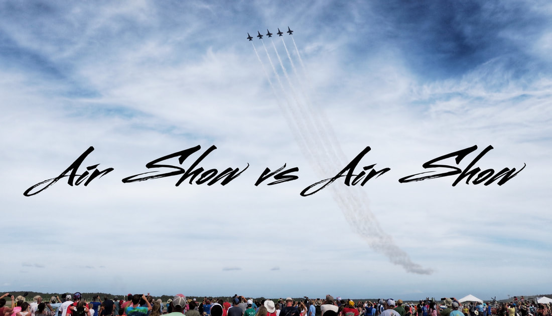 The Blue Angels fly above the crowd at the 2018 MCAS air show at Cherry Point, NC