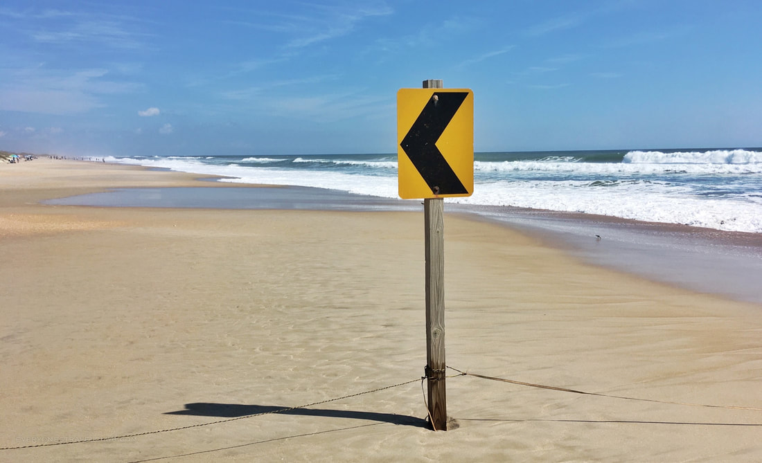 Road signs along the beach on South Core Banks, Cape Lookout, North Carolina