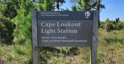 The Cape Lookout Light Station sign at the visitors center