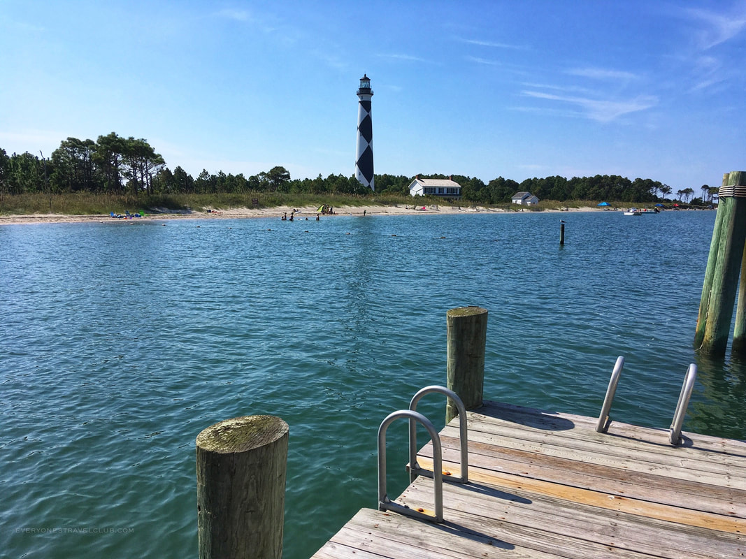 A view of the sandy beach from the lighthouse dock at Cape Lookout