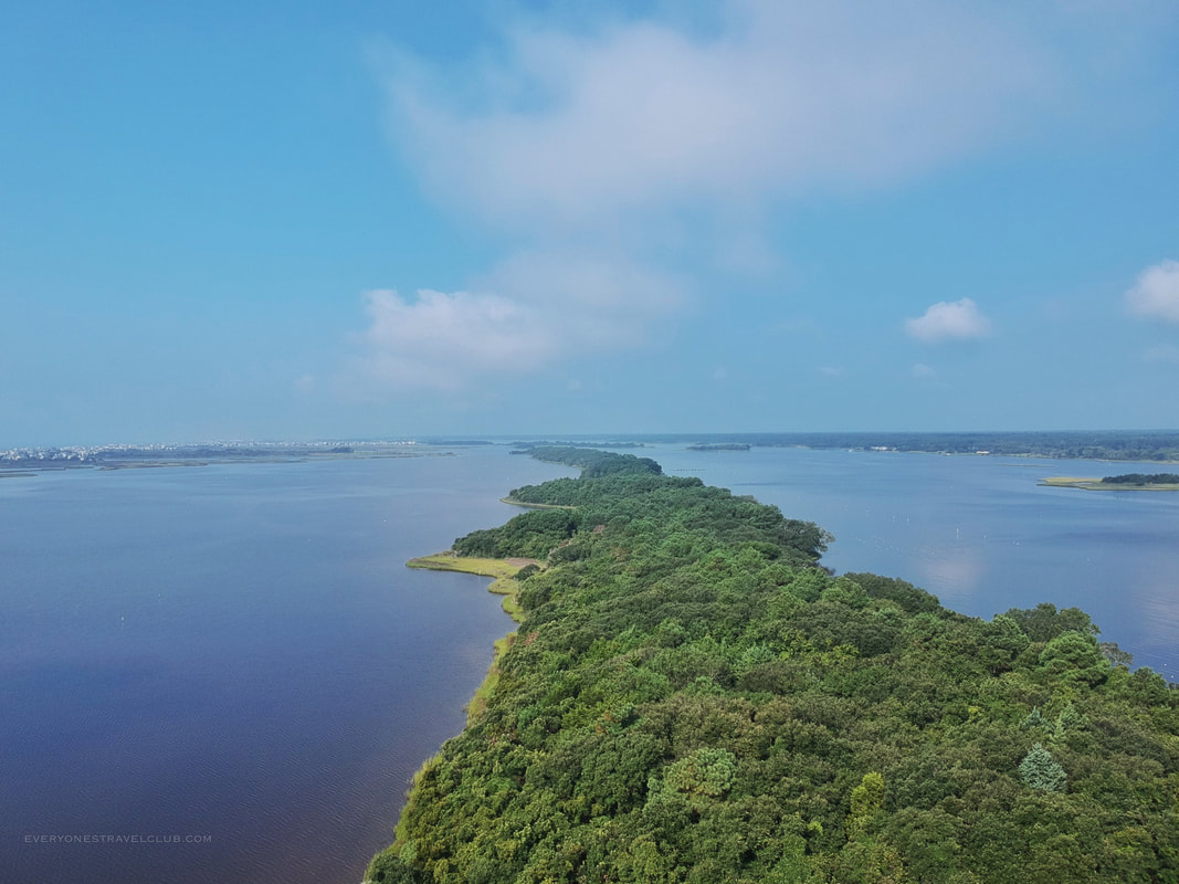 Drone picture of the Permuda Island Reserve in Eastern North Carolina