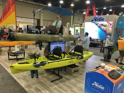 The Hobie booth at the Paddlesports Retailer Show 2018
