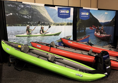 The Innova Kayak booth at the Paddlesports Retailer Show in Oklahoma City, 2018