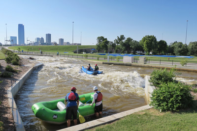 Whitewater in the boathouse district in Oklahoma City
