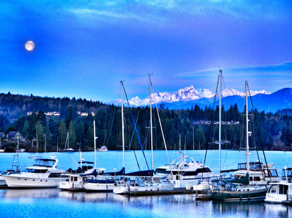 Sailboats docked at the Resort at Port Ludlow