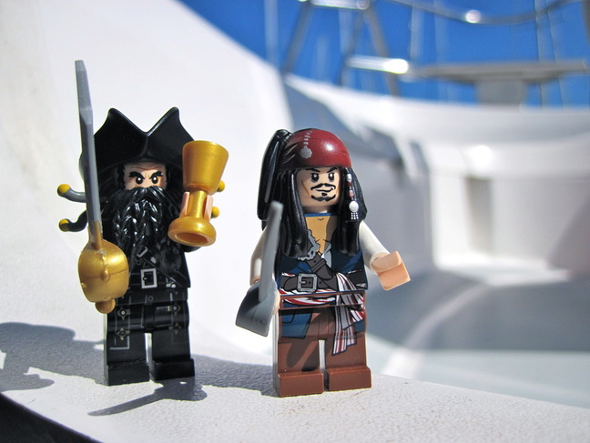 LEGO Captain Jack Sparrow and Blackbeard the pirate aboard our liveaboard sailboat Kingsley.