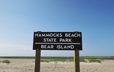 The sign at the end of Bear Island, Hammocks Beach State Park.