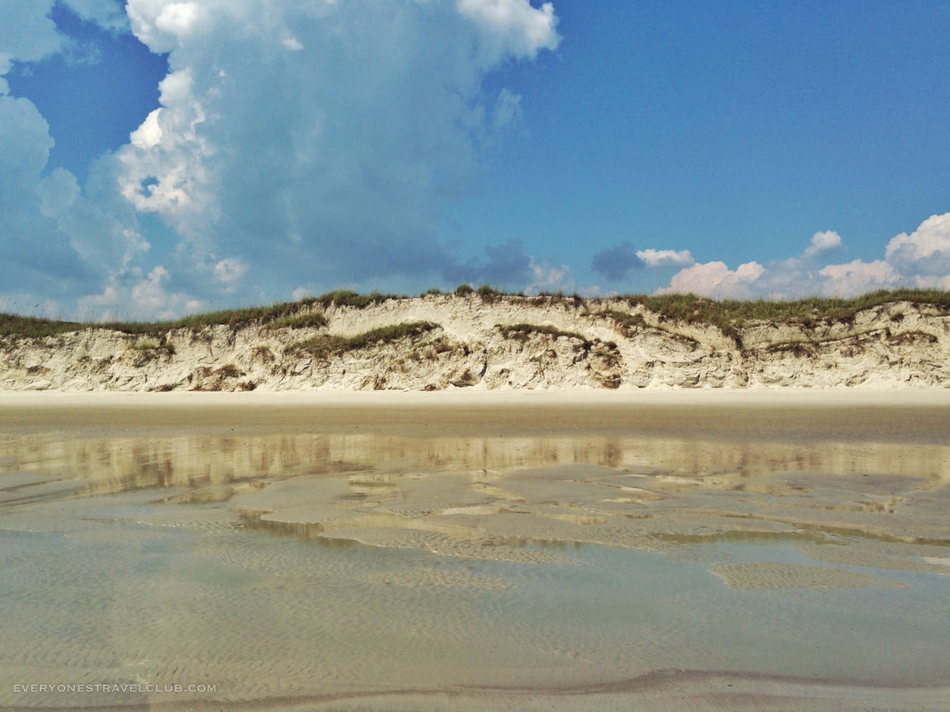 A view of the giant sand dunes on Bear Island, Hammocks Beach State Park