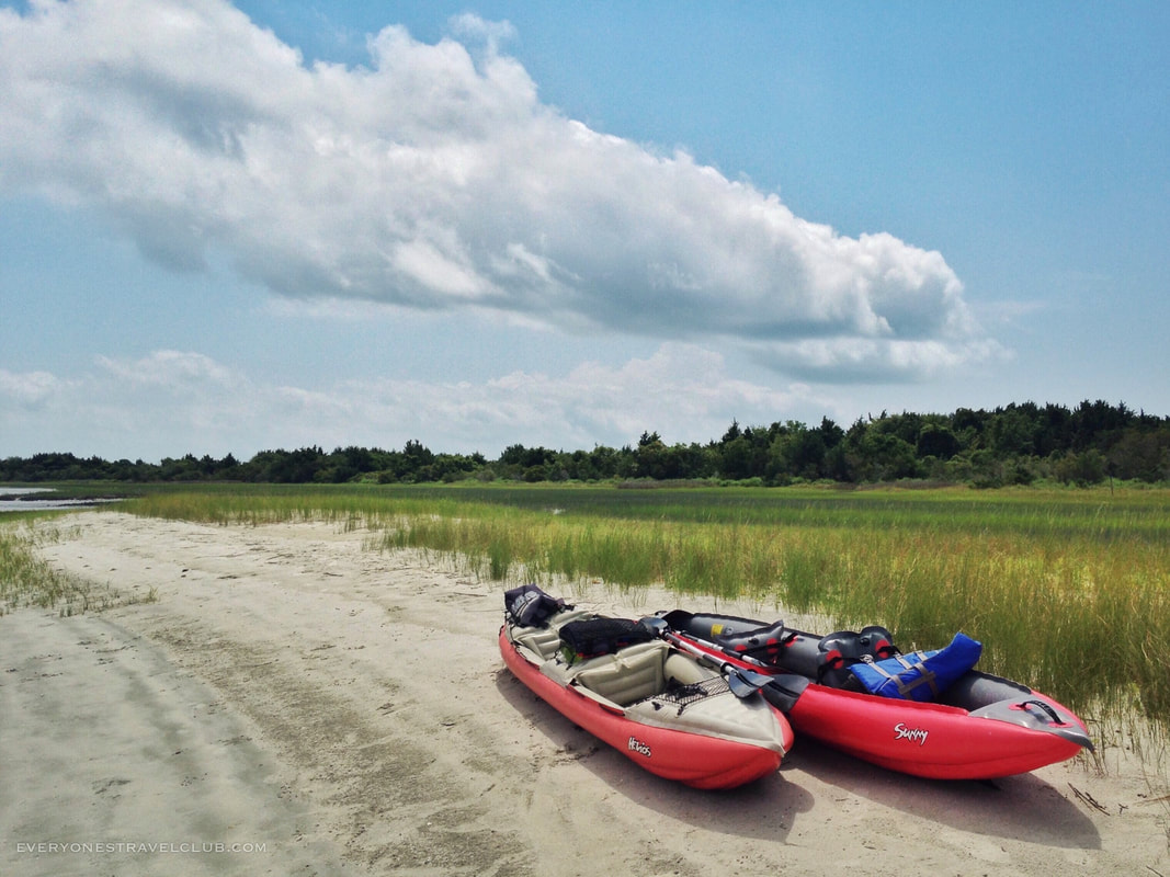 Two Innova inflatable kayaks landing on the Crystal Coast's Rachel Carson Reserve.