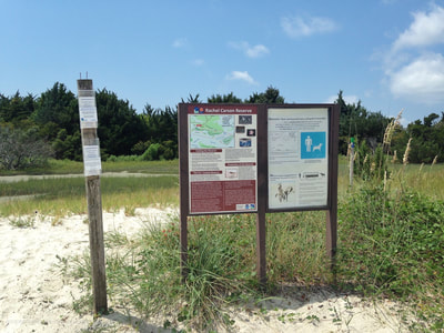 The trail signs located on Town Marsh, Rachel Carson Reserve.