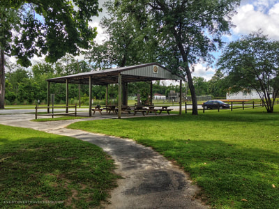The picnic structure at the Pollocksville Trent River boat launch.