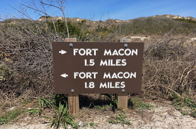 How long does it take to hike the Elliott Coues Nature Trail at Fort Macon? About an hour and a half.