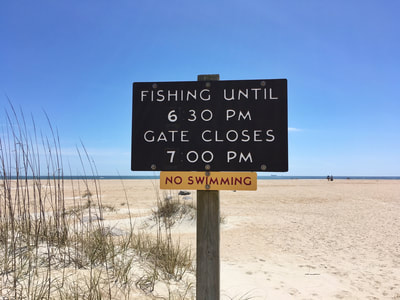 Fishing information from the beach at Fort Macon State Park.