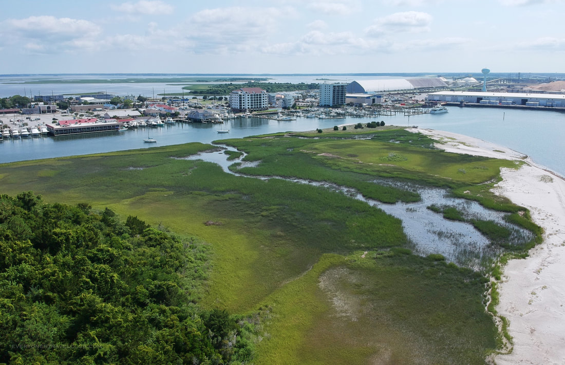A drone picture of Sugarloaf Island and downtown Morehead City