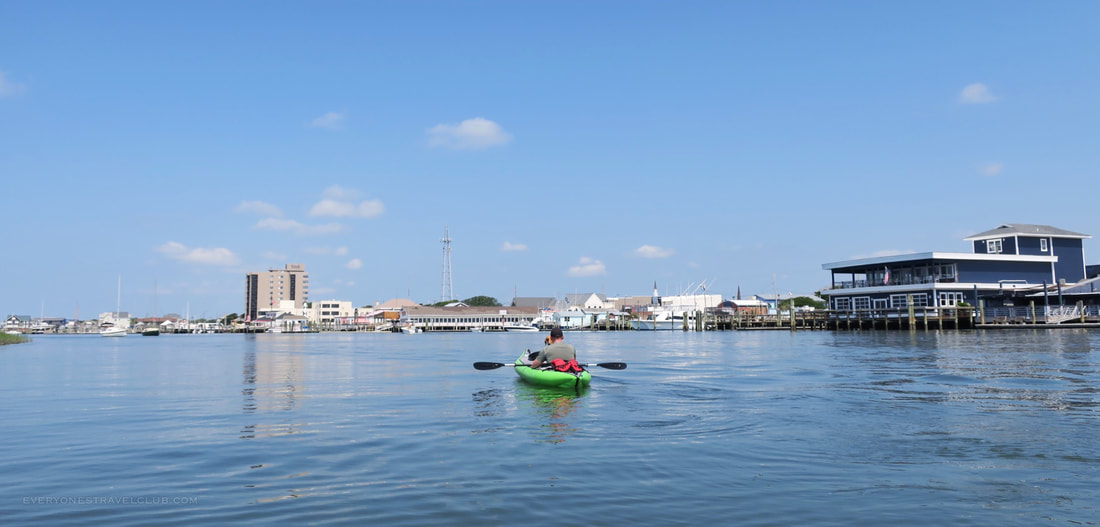 Kayaking near the downtown Morehead City waterfront