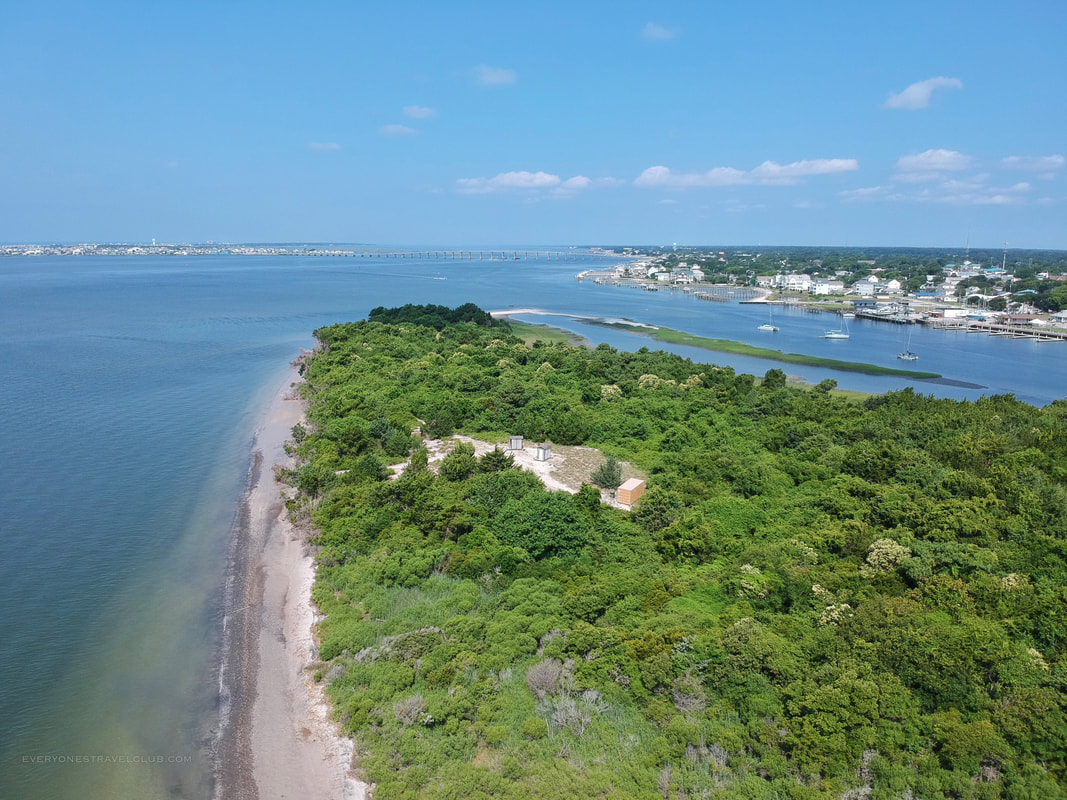 A drone aerial view of the Crystal Coast's Sugarloaf Island