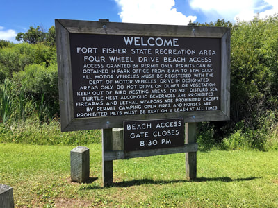 The welcome sign at the Fort Fisher Recreation Area