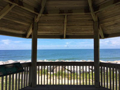 A view from inside the gazebo at Fort Fisher