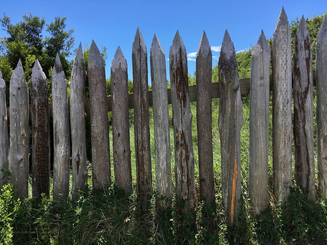 Replica fence posts at Fort Fisher Historic State Park
