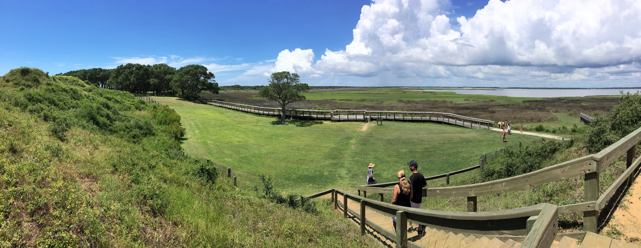 A panorama of the trails and mounds at Fort Fisher State Park in NC
