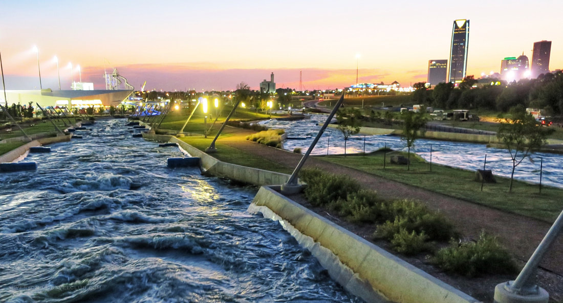 The sun setting at Riversport Rapids whitewater facility in Oklahoma City