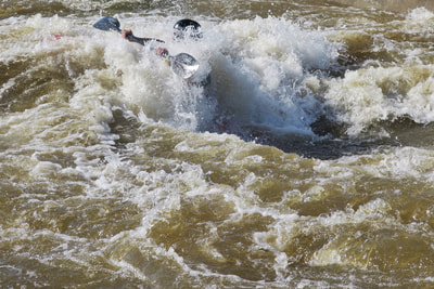 Serious whitewater paddling at the whitewater facility in Oklahoma City