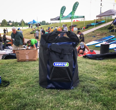 A super compact Innova Kayak bag at demo day at the Paddlesports Retailer Show in OKC