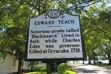 A historic sign marking Blackbeard the pirate's time in Bath, North Carolina