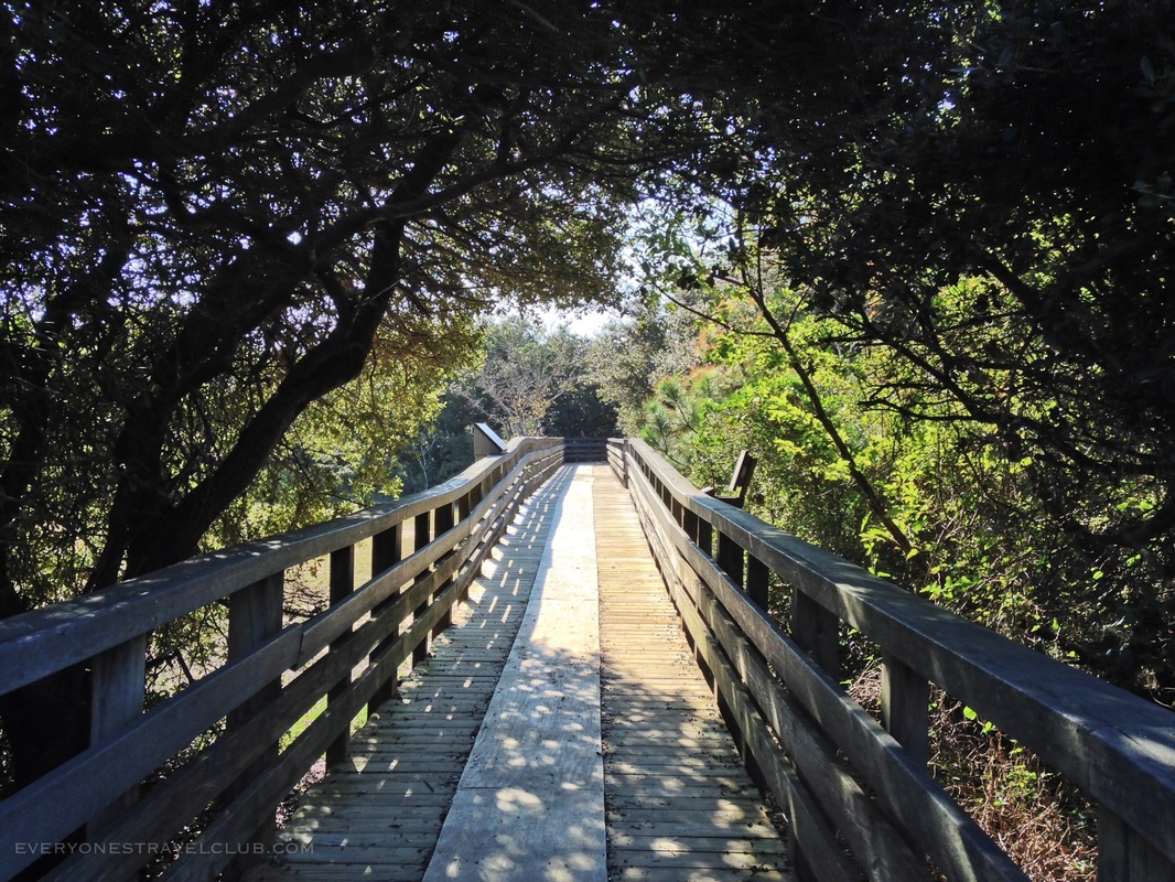 A Wooden Boardwalk in Jockey's Ridge State Park in Nags Head NC